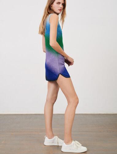 Sleeveless lurex knit dress : Dresses color Blue/Green/Purple