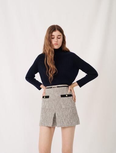 粗花呢珠宝扣短裙 : 半身裙及短裤 顏色 银色/SILVER