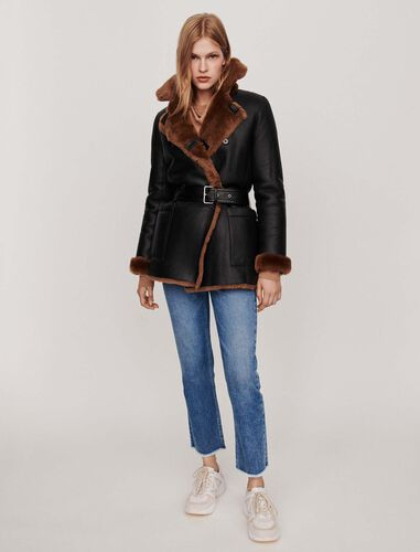 Canadian-style reversible shearling : Overcoat color Black