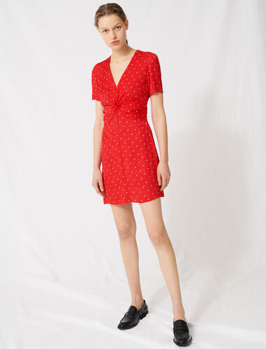 Polka dot jacquard dress : Dresses color Red