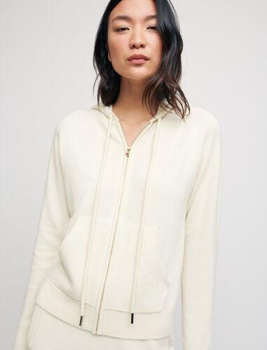100% cashmere hoodie : This Week color Ecru