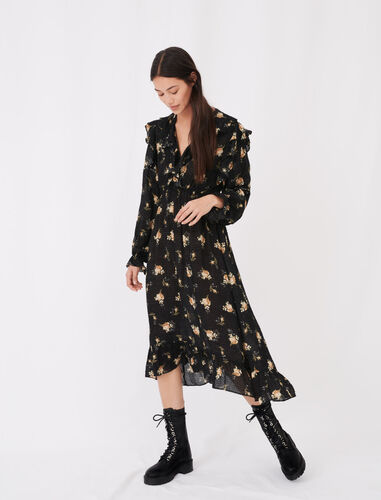 Printed jacquard dress with ruffles : Dresses color Grunge flowers black camel