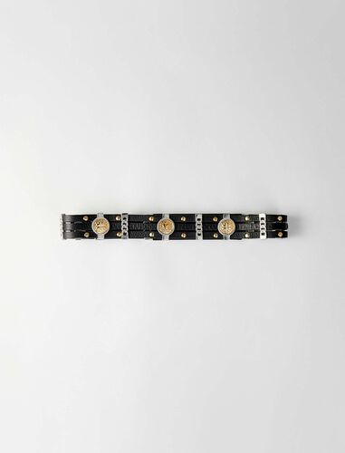Leather belt with medallions : Belts color Black