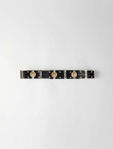 Leather belt with medallions : Belts color Black
