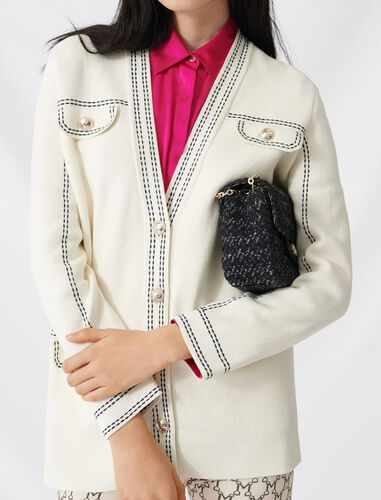 Cardigan with contrasting topstitching : null color Ecru