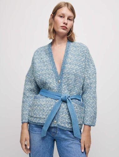 Belted fancy knit cardigan : Cardigans color Blue Sky