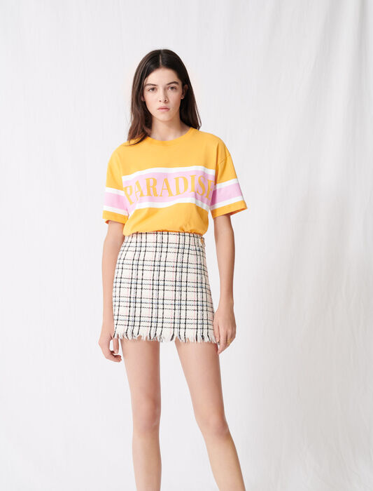 Tweed-style mini skirt with fringing : Skirts color Ecru