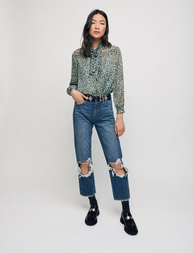 Ripped high-waisted jeans : Trousers & Jeans color Blue