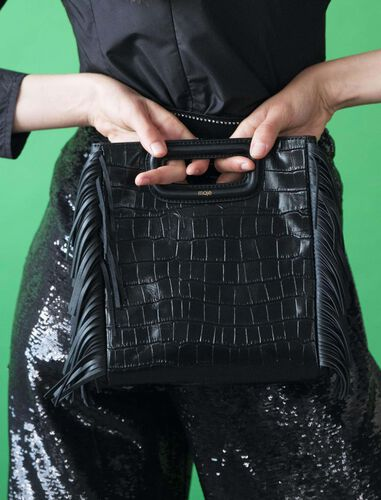 Crocodile embossed-leather M bag : M Bag color Black