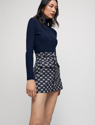 Jacquard skirt with bow pattern : Skirts & Shorts color Navy Knots
