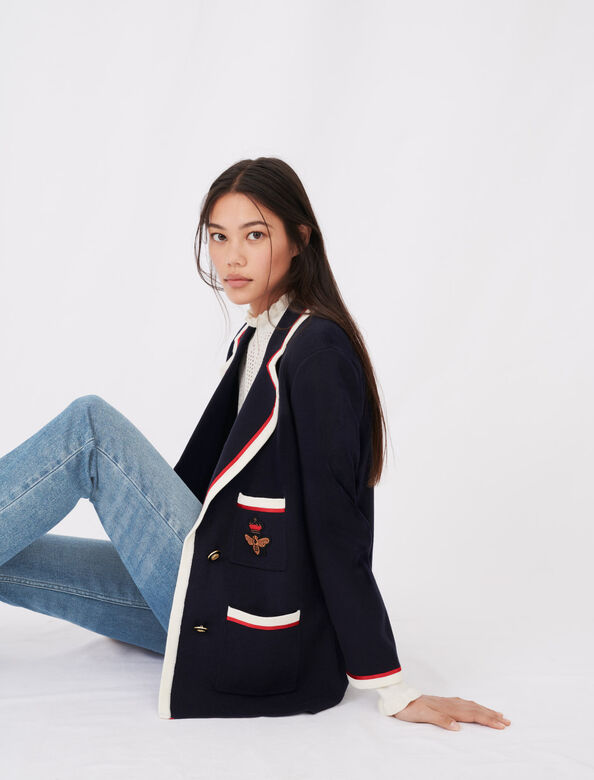 Contrasting collar and pocket cardigan : null color Navy