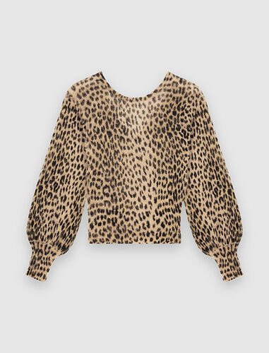 Mohair animal print sweater : Sweaters color Natural leopard