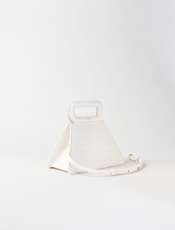 Crocodile-effect leather pyramid bag : M Bag color Ecru