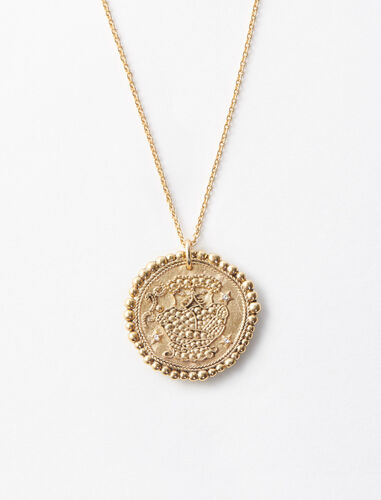 Gemini zodiac sign necklace : Jewelry color Old Brass