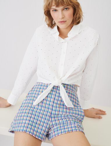 Tie shirt in embroidered poplin : Shirts color White