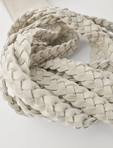 Suede belt with braided ties : View All color Beige
