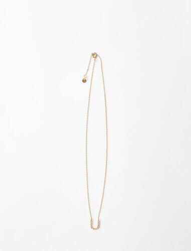 字母u水钻装饰项链 : 首饰 顏色 金色/GOLD