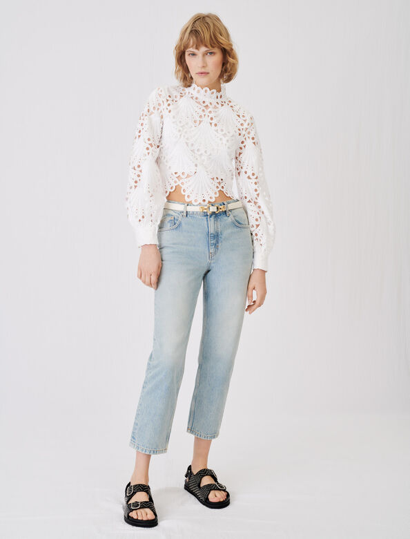 Guipure top : Tops color White