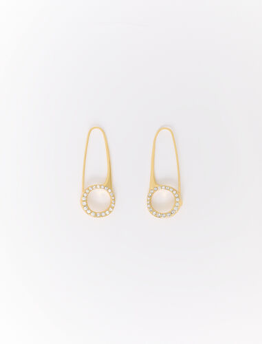 Safety pin drop earrings : Jewelry color Gold