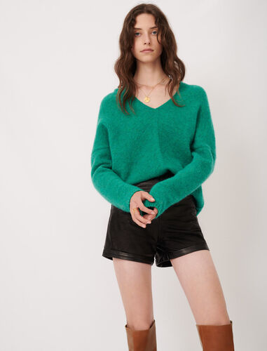 V-neck marl sweater : Sweaters color Green