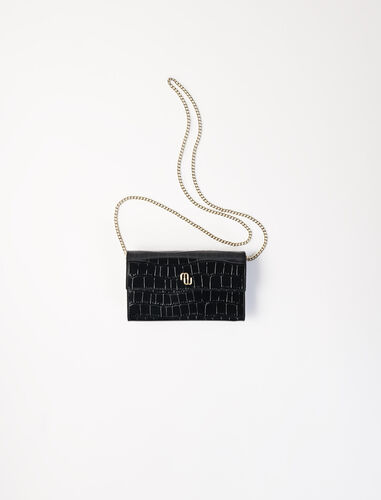 Croco embossed leather wallet with chain : Shoulder bags color Black