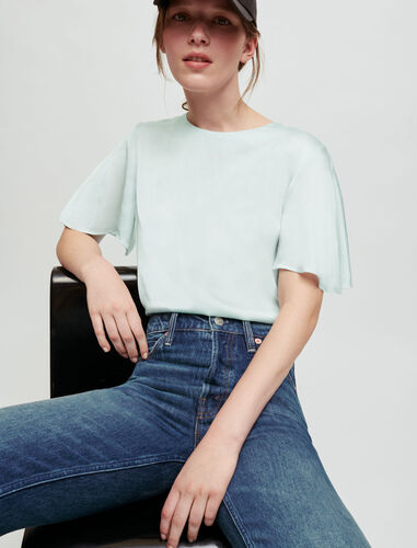 混合材质T恤 : T-Shirts 顏色 灰绿色/CELADON