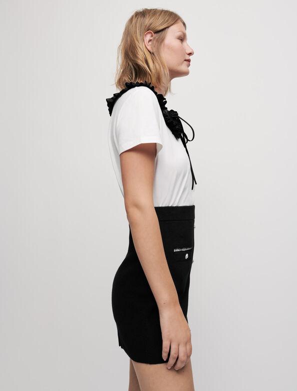 Embroidered poplin knit skirt : Skirts & Shorts color Black
