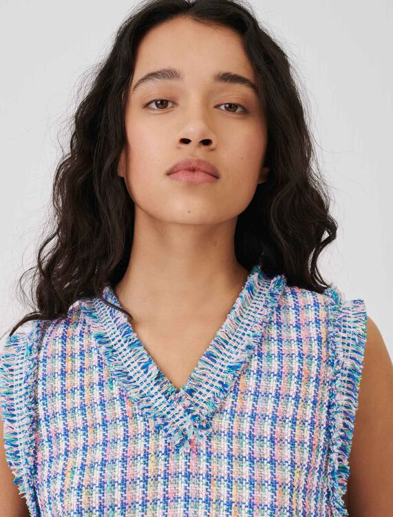 Tweed top with contrasting braid trims - Tops - MAJE