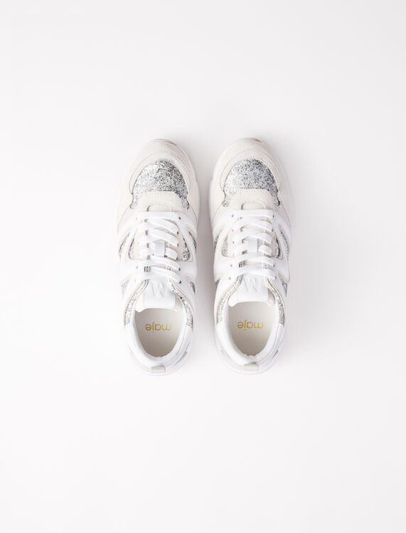 W22 glittery trainers : Sneakers color Silver