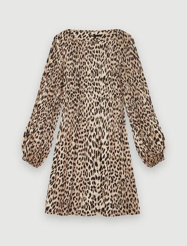 Plissée animal print dress : Dresses color Natural leopard