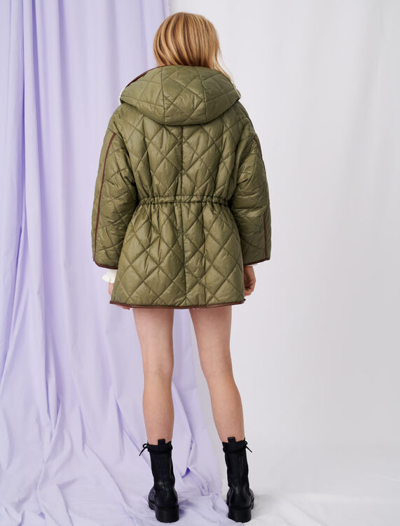 Down jacket with hood and fur-effect : Coats & Jackets color Khaki