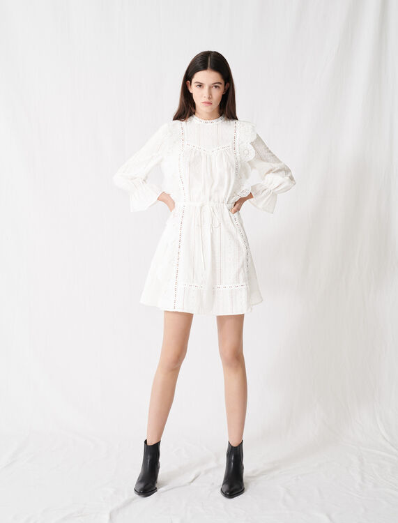 White dress with broderie anglaise : Dresses color White