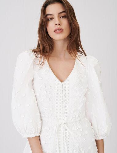 刺绣修身连衣裙 : 连衣裙 顏色 白色/WHITE
