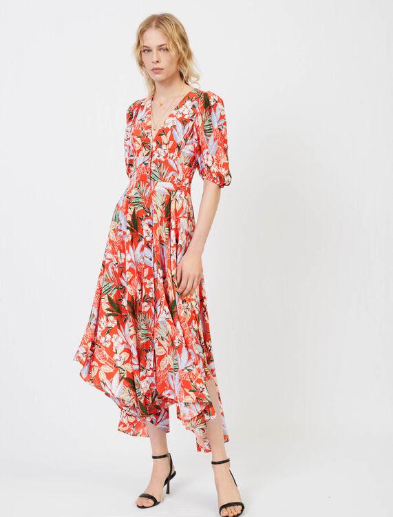 Asymmetric dress in printed crêpe - Dresses - MAJE