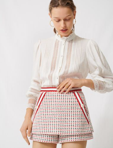 Short tweed-style trompe-l'œil skirt : Skirts color Ecru/ Red/ Navy