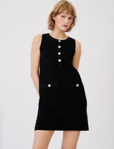 Denim and knit mix dress : Dresses color Black
