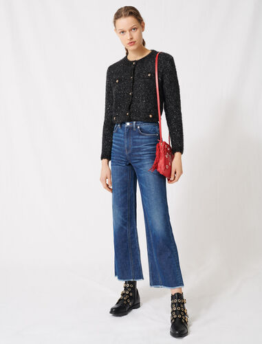 High-waisted wide-leg jeans : Jeans color Blue