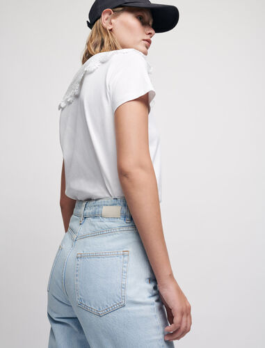 High-waisted mom jeans : Trousers & Jeans color Blue Sky