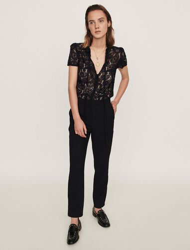 Guipure and crepe jumpsuit : Trousers color Black