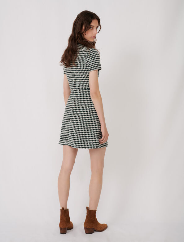 Contrast tweed dress : Dresses color Ecru / Green