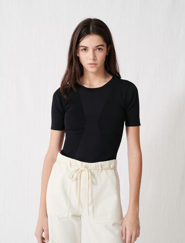 Charcoal black short-sleeved jumper : Tops color Black