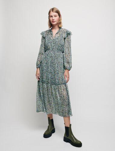 印花雪纺飘逸连衣裙 : Dresses 顏色 蓝色印花/Blue