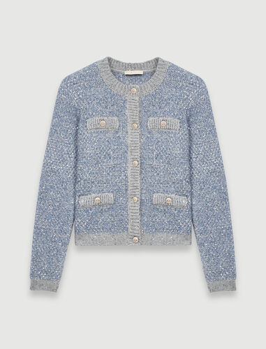 Cardigan with lurex threads : Cardigans color Blue Sky