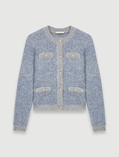 银线花呢针织开衫 : 开衫 顏色 天蓝色/BLUE SKY
