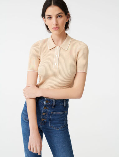 Ribbed polo sweater : Sweaters color Beige