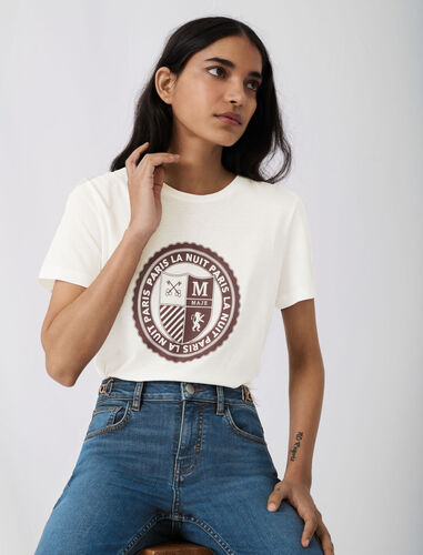 Screen-printed college-style T-shirt : T-Shirts color White