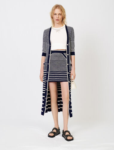 Long sailor-style cardigan : Cardigans color Navy / Ecru