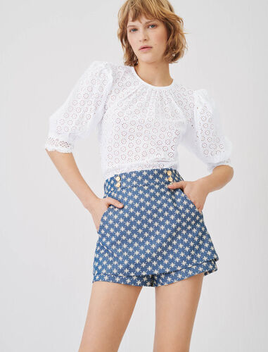 Trompe l'œil embroidered shorts : Shorts color Blue