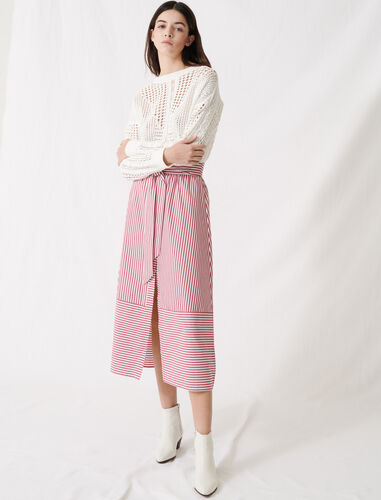 Long striped tie skirt : Skirts color Red/White
