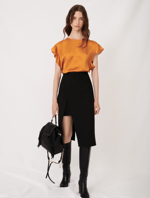 Sleeveless T-shirt with ruffles : T-Shirts color Camel